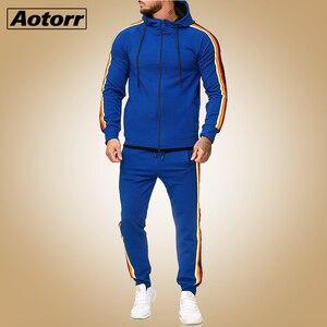 2 Pieces Autumn Running Tracksuit Men Zipper Hoodie Jacket Sweatshirt+ Pants Sports Set Gym Clothes Mens Sportwear Outfit 5XL