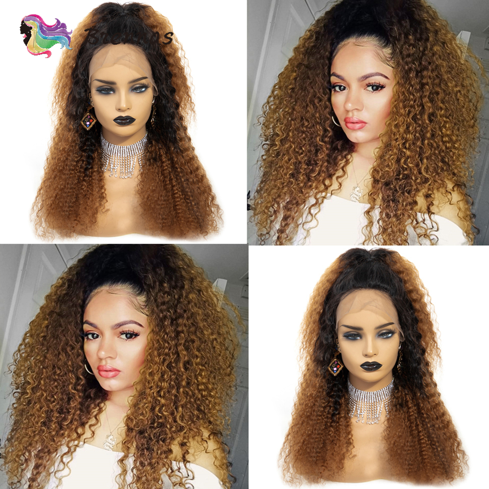 Brazilian Jerry Curly Lace Front Wig Human Hair Lace Wig 13X4 Lace Wig Baby Hair Curly Wig Glueless Ombre 1b30 Color Remy Hair