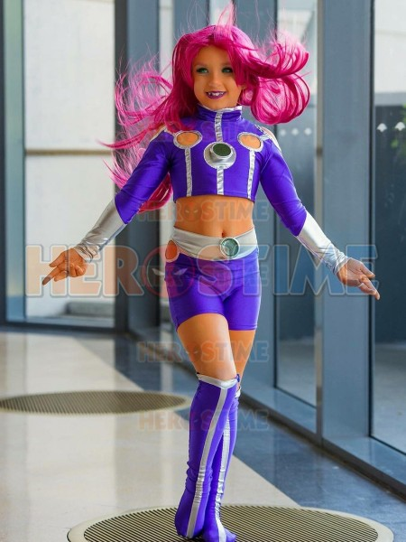 Starfire Teen Titans Cosplay Superhero Costume Kids Adults Halloween Party Zentai Body suit can custom Made image