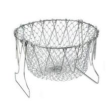 Stainless Steel Oil Fry Basket Foldable Expandable Strainer Net Kitchen Cooking Steam Rinse Strain