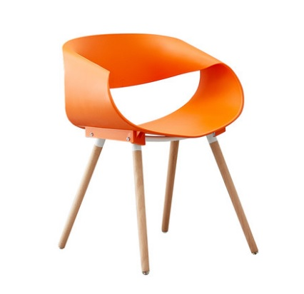 New York Design Plastic Chair With Curved Seat Backrest And Solid Wood Feet