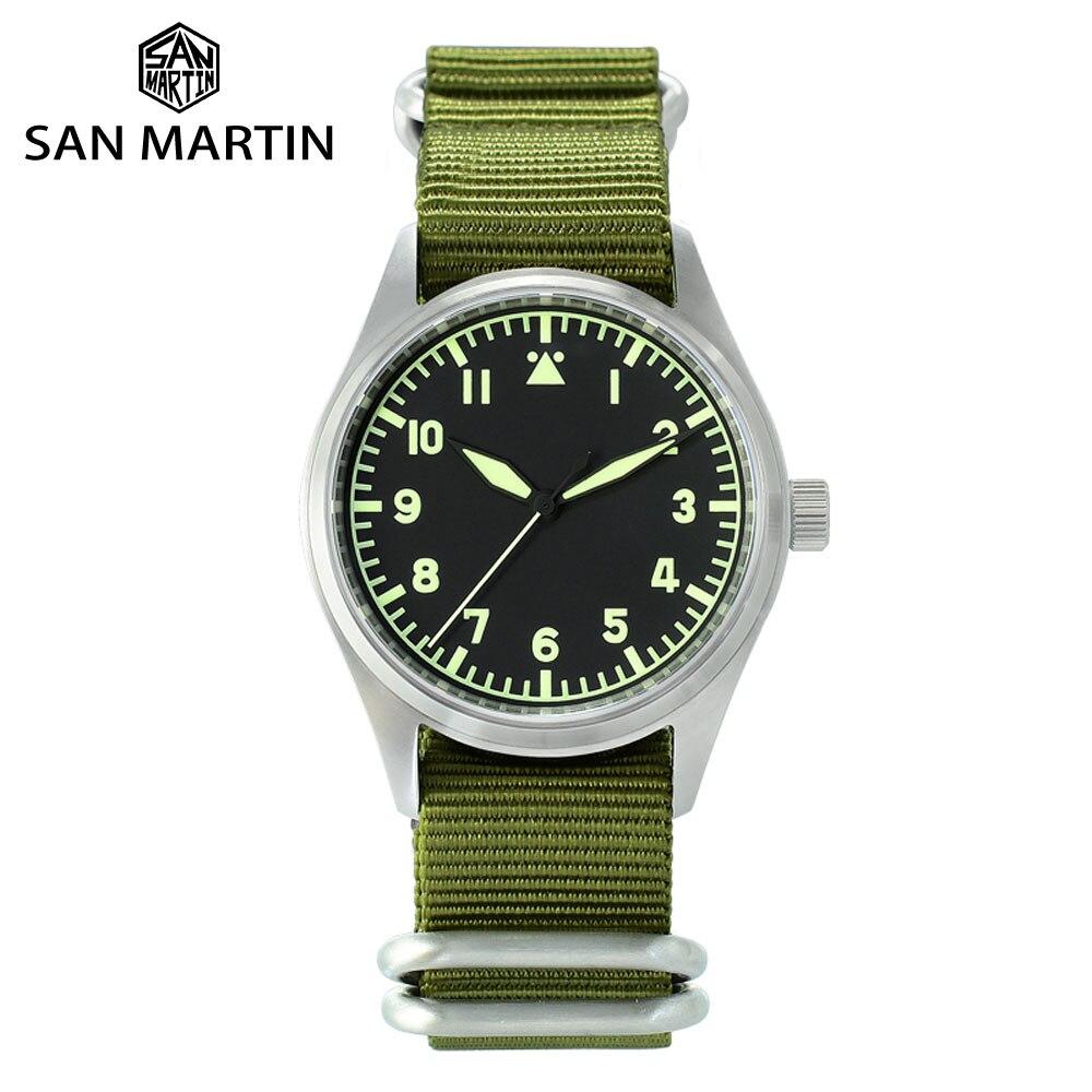 San Martin Stainless Steel Pilot Men's Quartz Watch NATO Nylon Strap Sapphire Luminous Waterproof