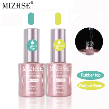 MIZHSE GEL Varnish UV Nail Rubber Foundation Top Coat Base Coat Soak-Off Base&Top Hybrid Semi Permanent Gel For Nail Art
