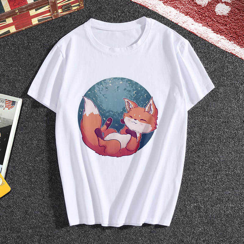 Lus Los Tops Zomer Vrouwen O-hals t-shirt Vrouw Mode Vos Print wit korte Mouw T-shirt Vrouwelijke Plus Size casual Shirt