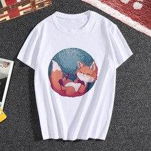 Lus Los Tops Summer Women O-neck T shirt Woman Fashion Fox Print white short Sle