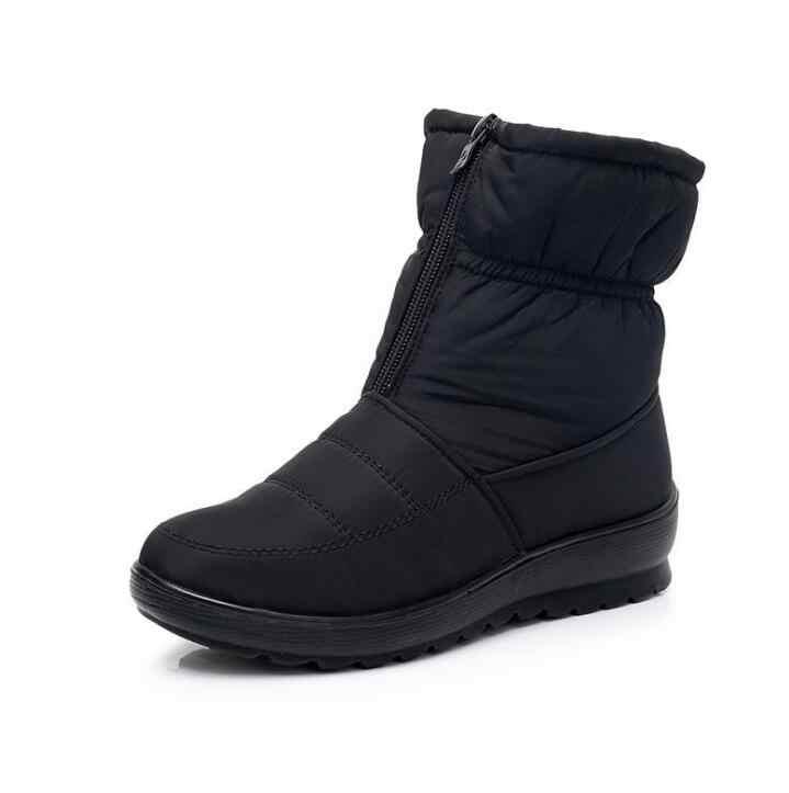 Kadın kar botları sıcak kış çizmeler peluş su geçirmez kaymaz kürk botları kadın kış ayakkabı Wyq173