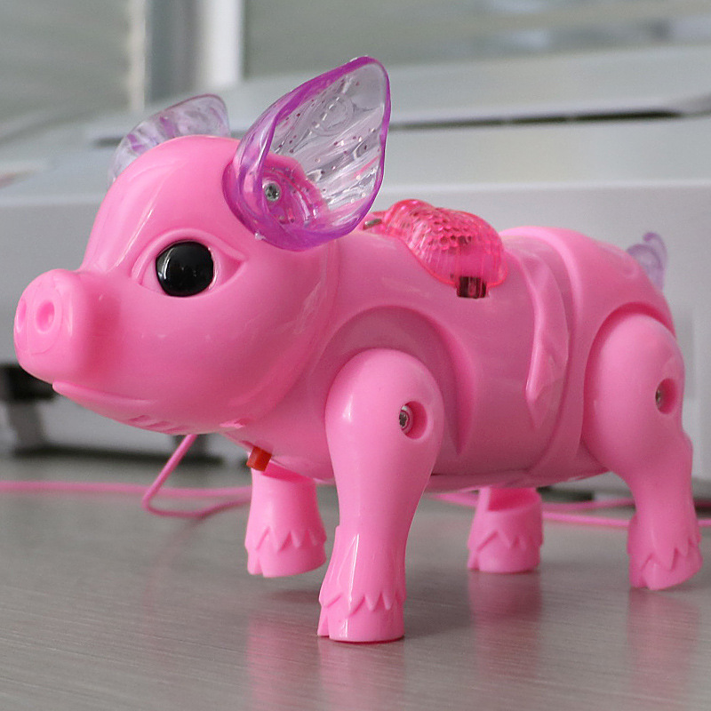 Online Celebrity Leash Piggy Electric Walk CHILDREN'S Toy Boy Baby Infant 1-2-3 Weeks Half Year Old GIRL'S Music
