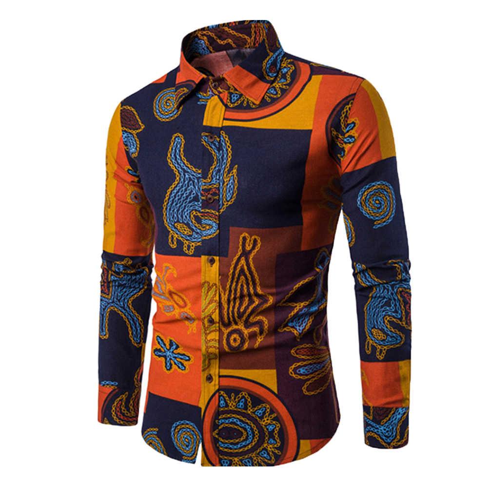 남성 디지털 프린트 긴 소매 턴 다운 칼라 슬림 피트 버튼 다운 셔츠 탑