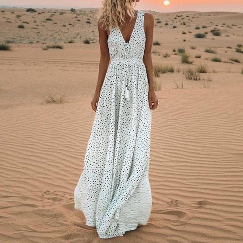 >White Polka Dot Maxi Dress Elegant Vintage Fashion <font><b>Women</b></font> Sleeveless <font><b>Lace</b></font> <font><b>Up</b></font> Summer 2019 Sexy Deep V Boho Big Swing Long Dresses