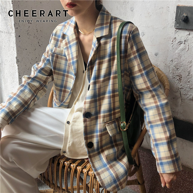 Cheerart Plaid Blazer Autumn Women Jacket Coat Blazer Femme Long Sleeve Suit Jacket Ladies Casual Blazer 2019