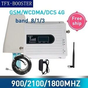 Усилитель сотового сигнала, трехдиапазонный, 2G, 3G, 4G, 70 дБ, GSM 900, LTE 1800, WCDMA 2100 МГц