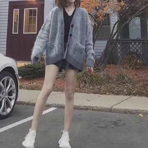 Image 1 - Женский трикотажный кардиган из смеси мохера и шерсти, свободный свитер на пуговицах с V образным вырезом, Осень зима 2019
