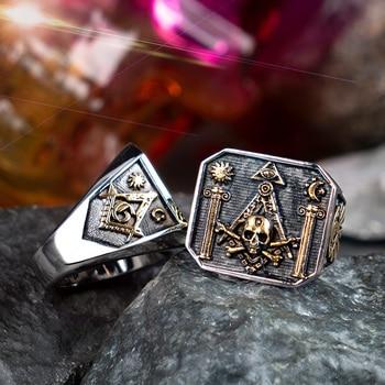 Skull MasonicRing For Men   Stainless steel  Omniscient eye and freemason Totem Jewelry