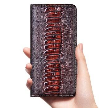 Ostrich Genuine Leather Case For Huawei Y5 Y6 Y6S Y7 Y9 Y9S Y5P Y6P Y7P Y8P Prime 2017 2018 2019 2020 Phone Cover Cases