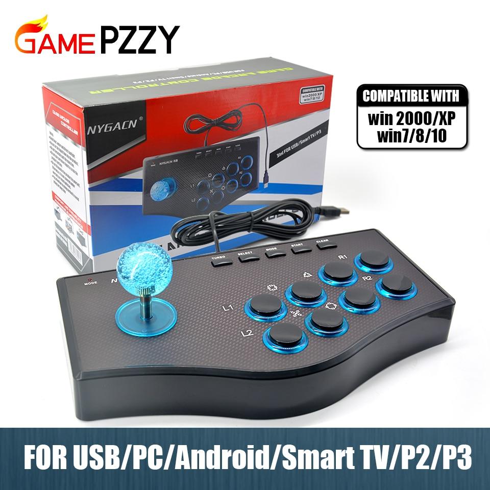Аркадный джойстик для ПК для PS2/PS3 консоль для Android Smart TV с кабелем 1,8 метра и встроенным вибратором Eight Direction Joyst