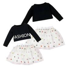 Bebê meninas outfit bonito manga comprida camisa + tutu saia da criança casual conjuntos confortáveis