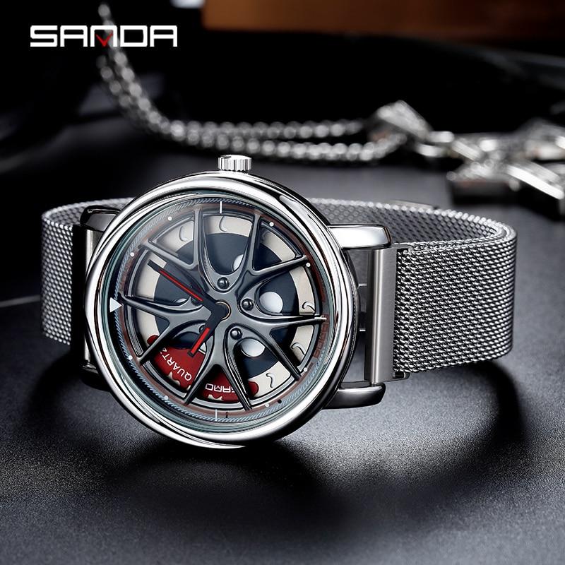 Image 4 - Sanda 2020 venda quente relógio masculino à prova dwaterproof água rotativa dial roda relógios ímã fecho de quartzo relógio pulso presentes relogio masculino 1025Relógios de quartzo   -