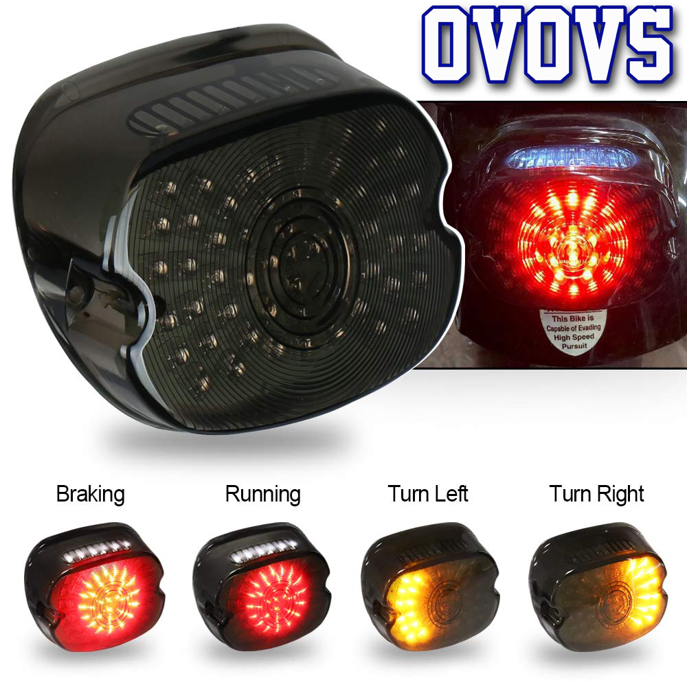 PBYMT Smoked LED Tail Light Brake Turn Signal Light Lay Down Taillight Compatible for Harley Davidson Dyna Sportster Road King Electra Glid 2002-2010