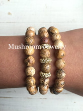Boho Pave Rhinestone Charm Bracelet Women  For Picture Jasper Beads