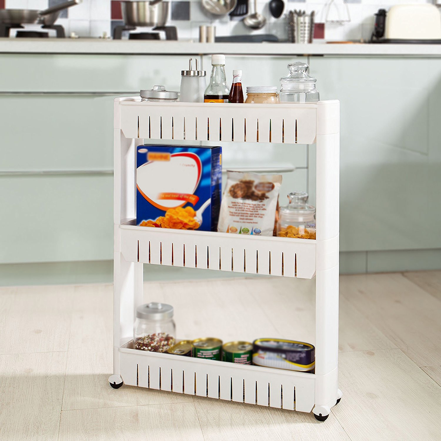 Three-layer Storage Racks 3 Tier Trolley Slide Out Storage Tower Holder Kitchen Trolley Bathroom Roll Kitchen Storage Racks HWC
