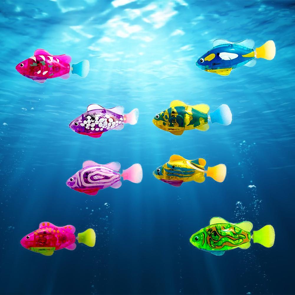 9pcs Electronic Toy Children Interesting Light Sensing Simulation Fish Baby Swim Bath Toys Magical Electric Toy Kid Brain Game