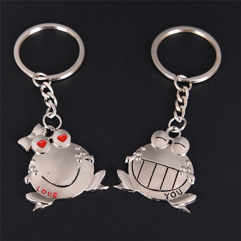 1 Pair Love You Big Mouth Frog Key Ring Keyholder Valentine's Day Gift Romantic Lovers Couple Keyring Keychain