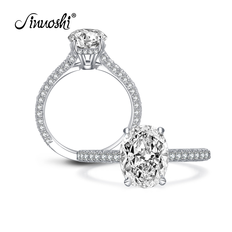 AINUOSHI 2.5 Carat Oval Cut Ring Simulated Diamond Engagement Wedding Sterling Silver Ring 4 Prongs Elegant Jewelry For Women