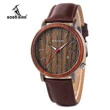 Relógios masculinos bobo pássaro quartzo relógio de pulso homem masculino metal couro mostrar data promoção venda montre homme natal aniversário gif