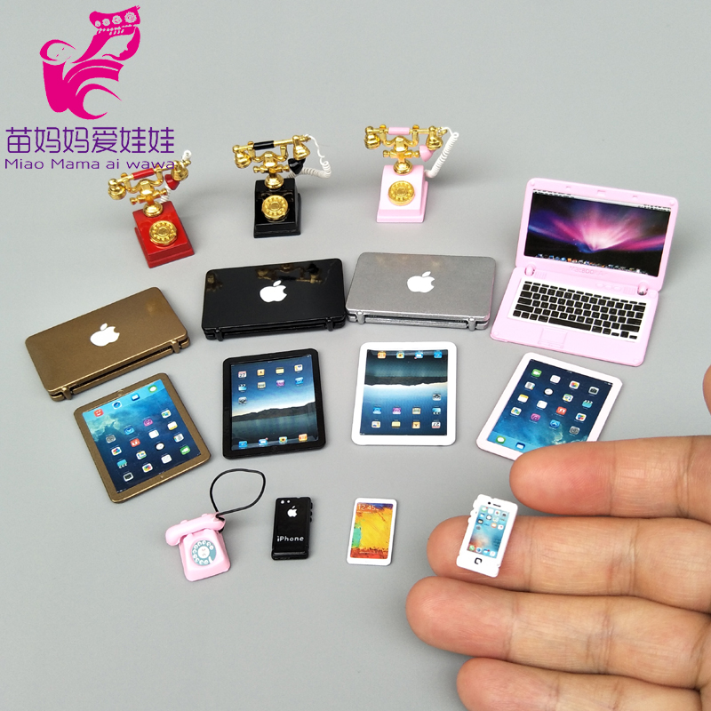 Mini Phone Mobile Laptop For 1/12 1/8 Bjd Doll Barbie Blythe Licca Doll Charm Phone Notebook For Doll House Diy Accessories
