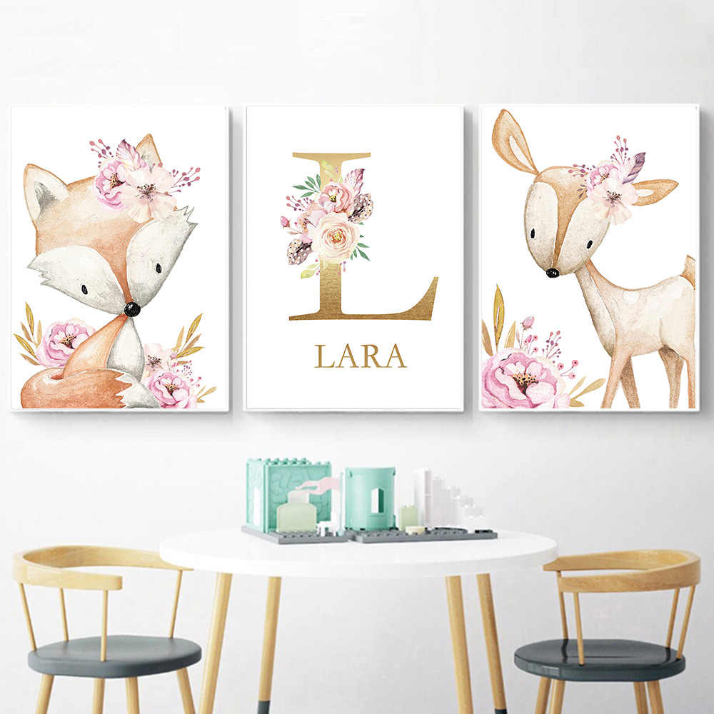 Woodland Animal Print Kwekerij Canvas Schilderij Custom Naam Wall Art Roze Bloemen Poster Nordic Muur Pictures Baby Girl Room Decor
