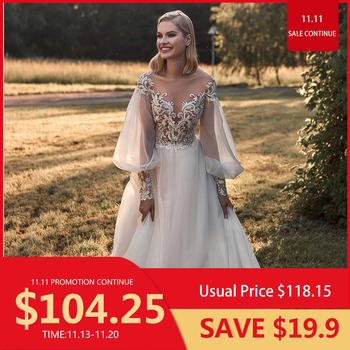 Wedding Dress 2020 A-Line Long Sleeve With Chapel Train V-Neck  Backless Women Bridal Gowns Lace Appliques Graceful White a line wedding dress luxury v neck lace back short sleeve puffy appliques lace bridal gowns with long train vestidos de noiva