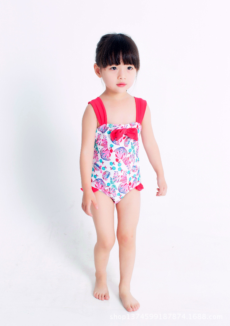 New Style KID'S Swimwear Girls Young Children Cute Wide-Strap Sun-resistant Bathing Suit Small Girls Small Bow One-piece Swimmin