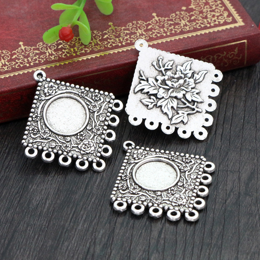 8pcs 12mm Inner Size Antique Silver Plated Fashion Style Cabochon Base Cameo Setting Charms Pendant (A2-14)