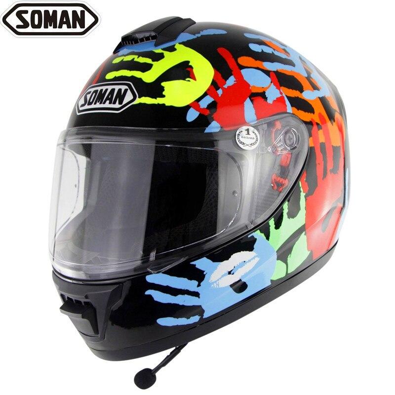 Soman мотоциклетный шлем анфас с bluetooth-гарнитурой гонки Capacete мотоциклетные шлемы для мужчин езда Casco беспроводная гарнитура