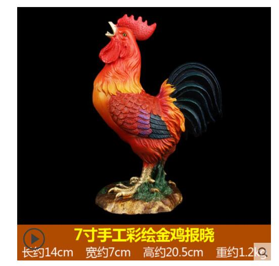 Manual coloured drawing or pattern All copper cock large Grilled Ham and Chicken rooster Home Furnishing office decoration