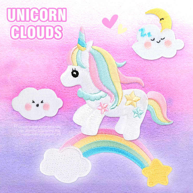 1 Pc Cute Rainbow Unicorn Patch DIY Kartun Cloud Patch untuk Pakaian Sticker Anak Anak Laki-laki dan Perempuan T-shirt Bordir Patch