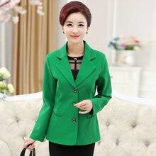 Mature Women Elegant Thin Blazers Green Khaki Black Notched Collar Smart Casual Jacket Suit Female Plain Colour Blazer Spring