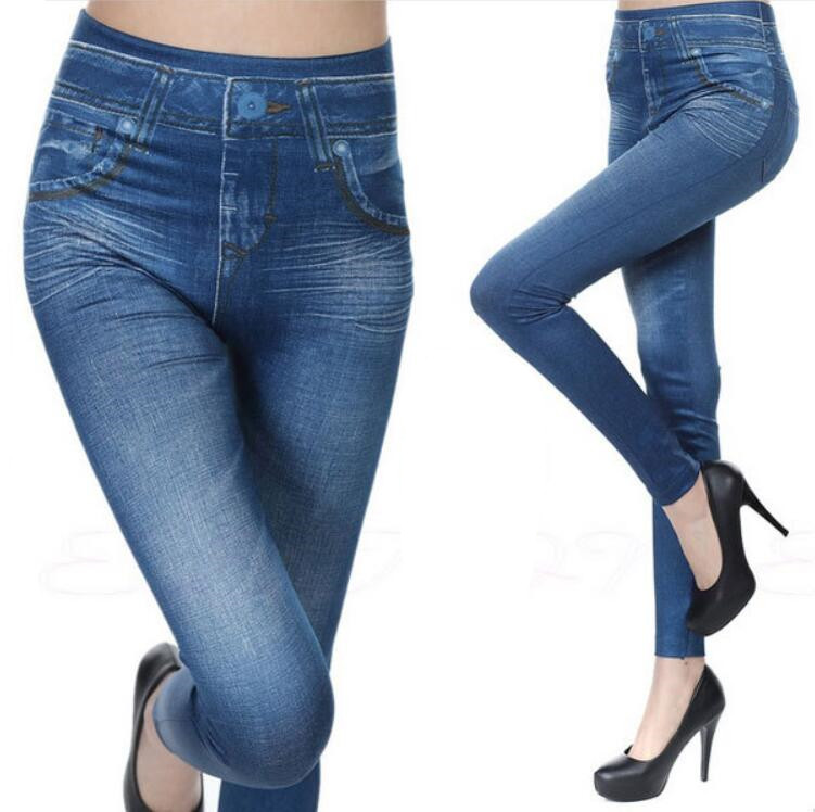 Stretchy Slim Leggings Sexy Imitation Jean Skinny Jeggings Skinny Pants Big Size Bottoms Hot Sale