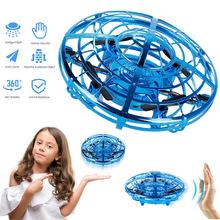 Magiczna ręka UFO latające samoloty zabawki drony elektryczna elektroniczna zabawka LED Mini indukcja Drone UFO zabawki dla dzieci boże narodzenie Brithday prezenty tanie tanio Strong-Toyers Metal Z tworzywa sztucznego 12*12*4 cm Silnik szczotki Instrukcja obsługi Kabel usb Operating Instructions