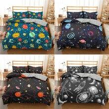 Homesky Planet Space Bedding Sets Cartoon Universe Duvet Cover Bedding Set King Queen Bed linen Bedclothes