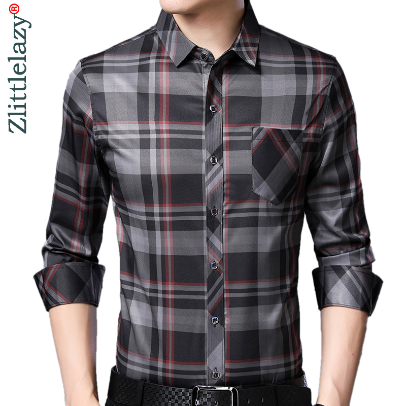 2020 Brand Casual Pocket Plaid Long Sleeve Slim Fit Men Shirt Streetwear Social Dress Autumn Shirts Mens Fashions Jersey 92303