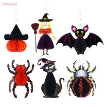 Halloween Hanging Decorations Bat Ghost Spider Pumpkin Honeycomb Pendant Ornaments for Halloween Party Decoration Haunted House halloween horror bat owl witch spooky haunted house garland halloween decoration halloween charm halloween pendant