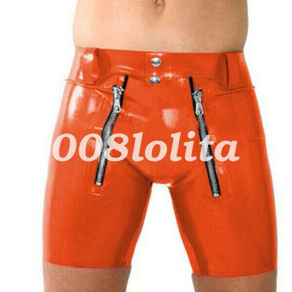 100% Karet Lateks Pria Sexy Hip Ketat Celana Pendek dengan Ritsleting Ganda 0.4 Mm Ukuran S-XXL