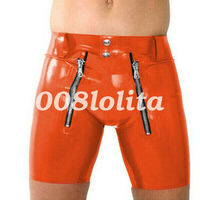 100% Latex Rubber Men Sexy Hip Tight Shorts With Double Zipper 0.4mm Size S XXL