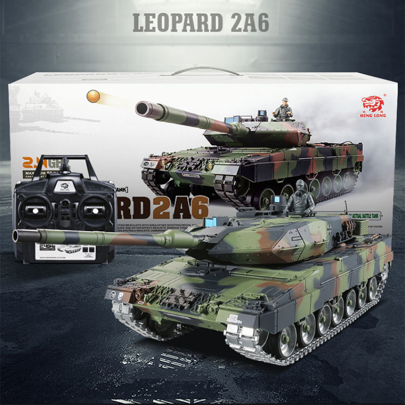 Metal Tank 2.4G German Leopard 2A6 real Simulation Sound infrared RC Tank emission Bullet Metal Track Metal Drive Wheel Tank Toy