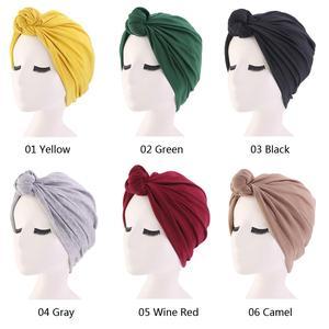 Image 2 - 이슬람 turban 비니 모자 매듭이 달린 탄성 머리 랩 캡 여성 chemo arab caps pleated 이슬람 탈모 모자 chemo cap bonnet new