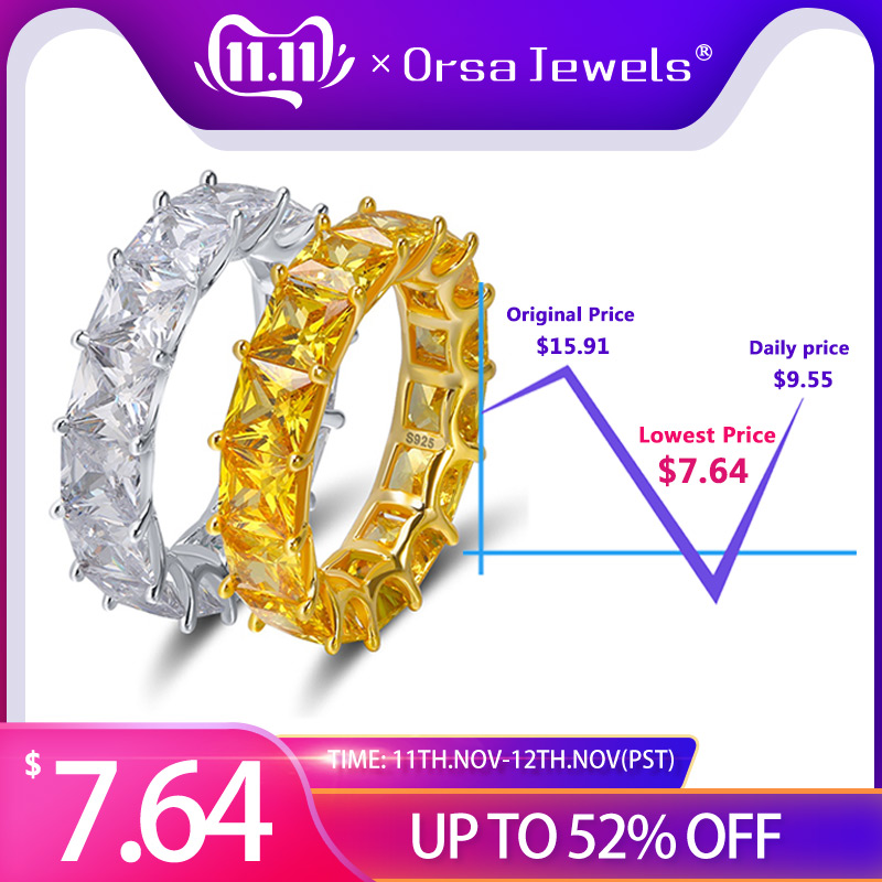 ORSA JEWELS 100% Real 925 Sterling Silver Rings For Women Men Engagement & Wedding Band AAA CZ Trendy Party Jewelry SR48