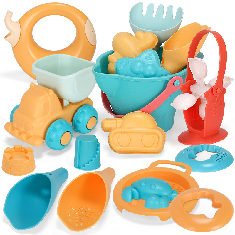 Summer Silicone Soft Baby Beach Toys Kids Mesh Bag Bath Play Set Beach Party Cart Bucket Sand Molds Tool Water Games Gifts