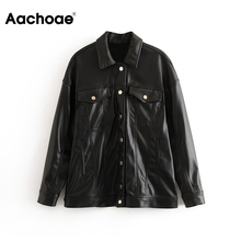 Jacket Coat Faux-Leather Women Outwear Long-Sleeve Casual Fashion Solid Aachoae PU Female