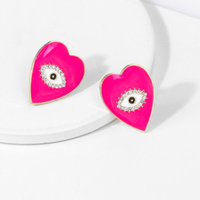 Girls Heart Stud Earrings Pink White Black Evil Eye Studs Women Ladies Gift Halloween Crystal Earings Jewelry Bohemian